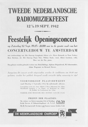 Announcement 'Second Dutch Radio Music Festival, September 12-19, 1942)', Concertgebouw Amsterdam (source: NIOD/WWII Image Bank)