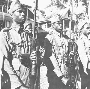 Surinamese army in 1943. Even though Suriname did not fall under German occupation in the war, after conscription was introduced in 1942 the Surinamese army grew to 5000 men. Five hundred Surinamese soldiers ended up fighting the Japanese in the war in the Dutch East Indies. After the war ended, they found themselves part of the Dutch colonial war against the East Indies, which declared independence on 17 August 1945, just two days after Japan surrendered. Suriname is independent since 1975. (source photo: NIOD/WWII Image Bank)