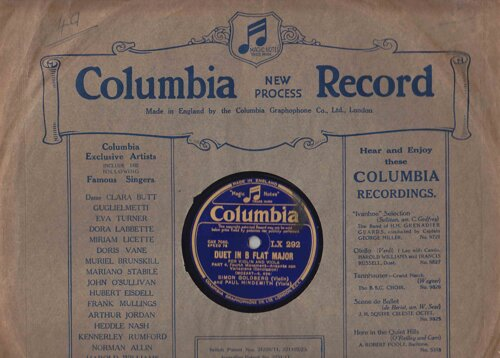 Duo in Bes (Mozart); Szymon Goldberg (viool), Paul Hindemith (altviool); Colombia Records LX291/292, 1934