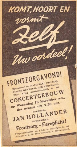Announcement concert for the benefit of 'Frontzorg', which organized performances with proceeds going to the volunteers on the Eastern Front, November 14, 1942 (source: collection Openneer)
